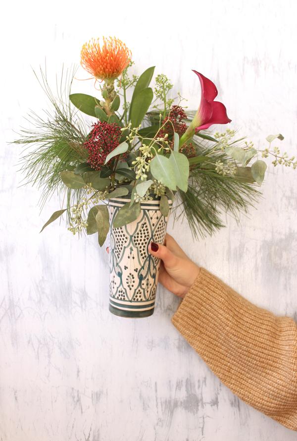 moroccan ceramic vase winter bouquet diy